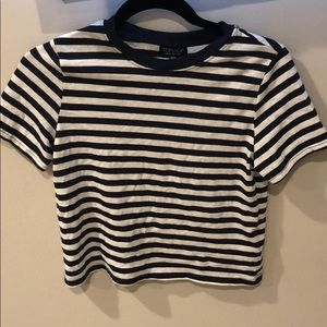 Cropped striped t-shirt from Topshop sz 4 (small)